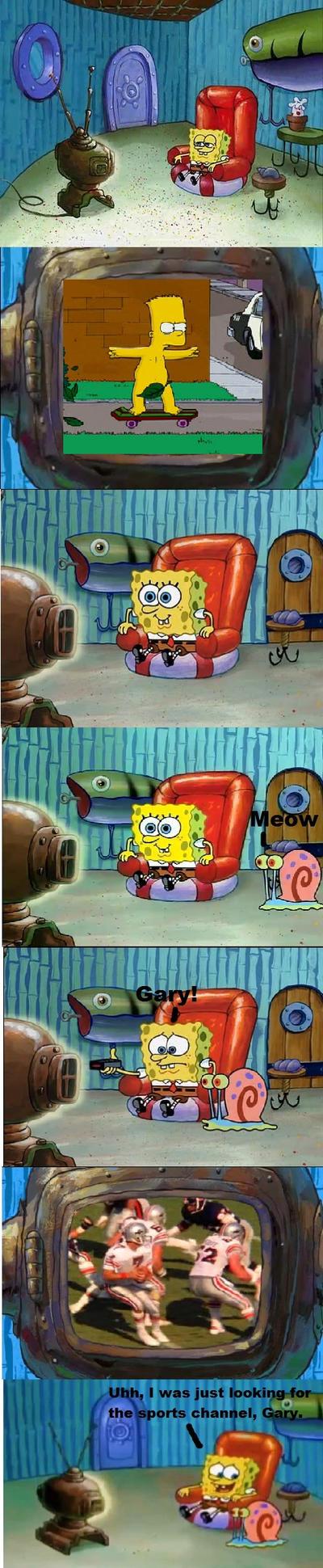 SpongeBob watching Bart Skateboarding Naked by MarcosPower1996