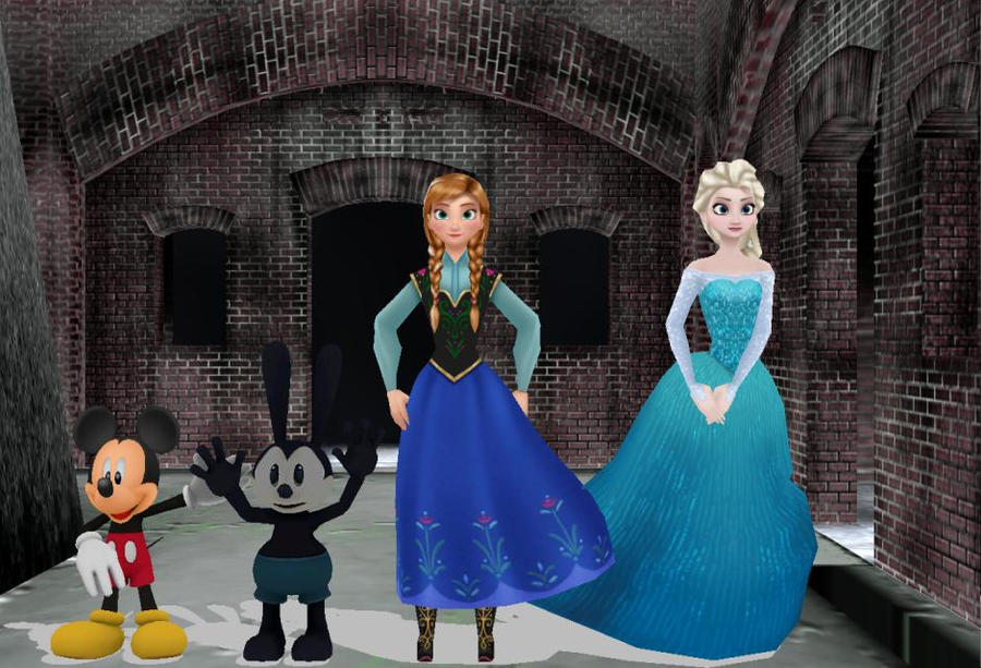 [MMD] Mickey, Oswald, Anna and Elsa by SuperMarcosLucky96