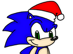 Sonic with Santa Claus hat