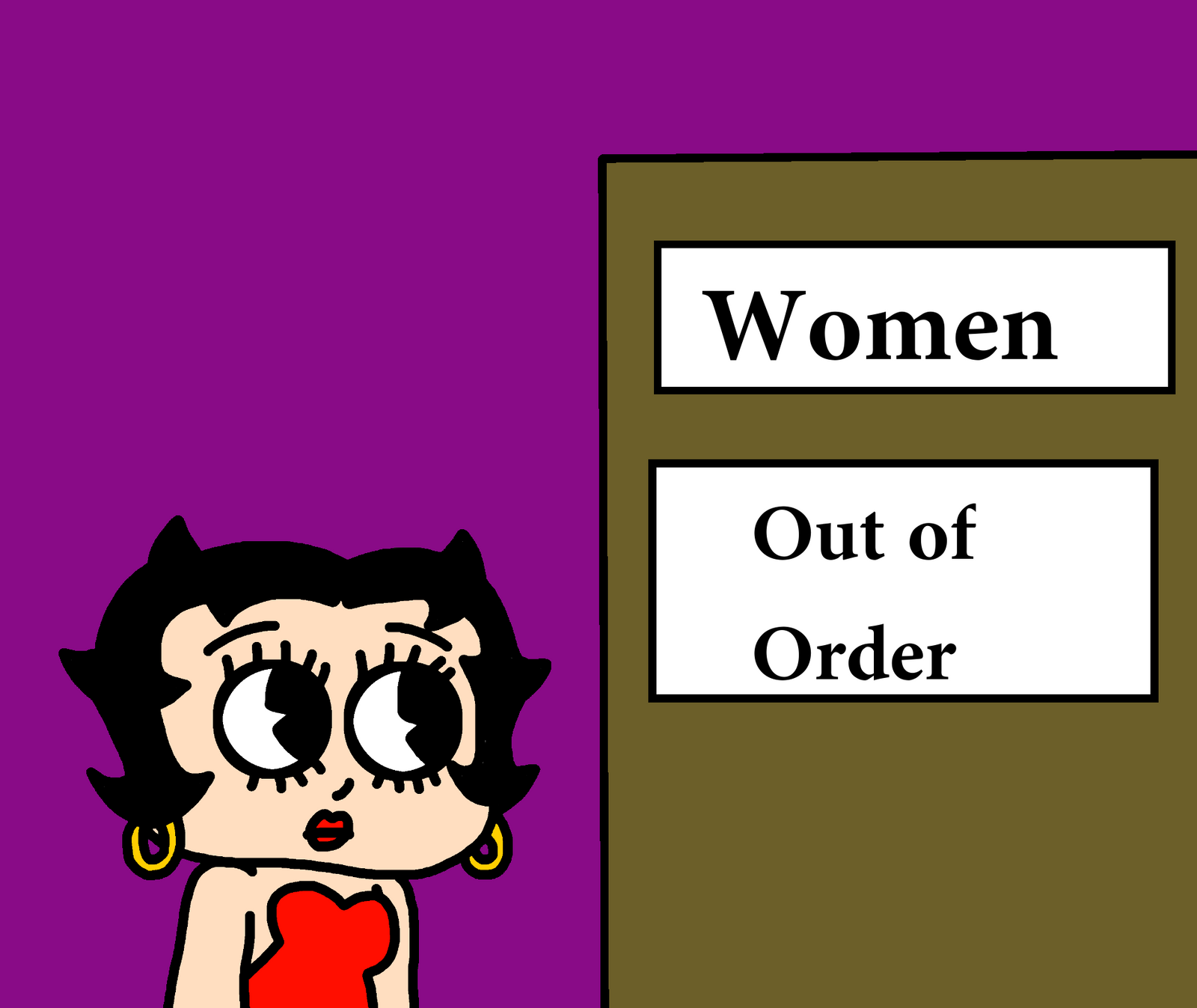 Betty boop with women 39 s bathroom out of order by for Bathroom out of order