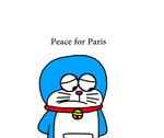 Doraemon making tribute to victims in Paris