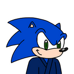Sonic wearing yukata