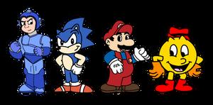 Video Game heroes in their cartoon designs