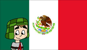 El Chavo with flag of Mexico
