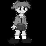 Chiyo Mihama in black-and-white cartoon style