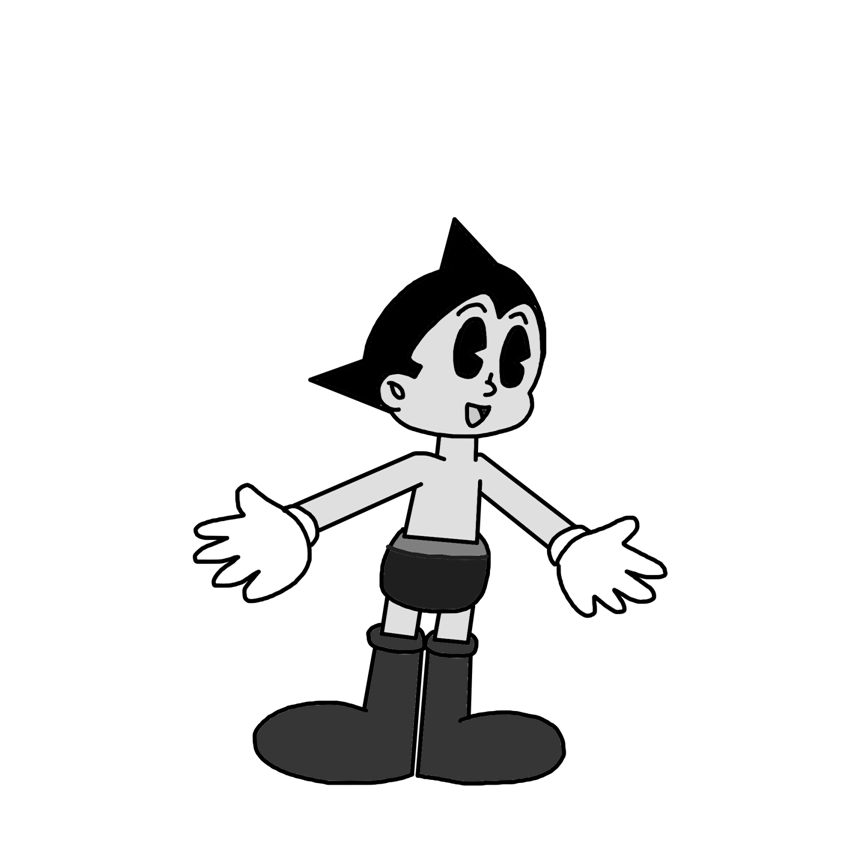Black-and-white Cartoon Style By