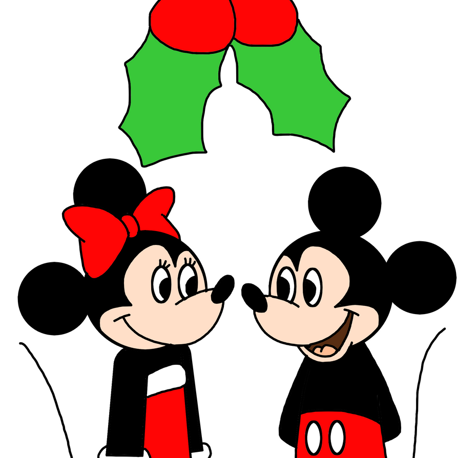 mickey and minnie with mistletoe by marcospower1996 on deviantart