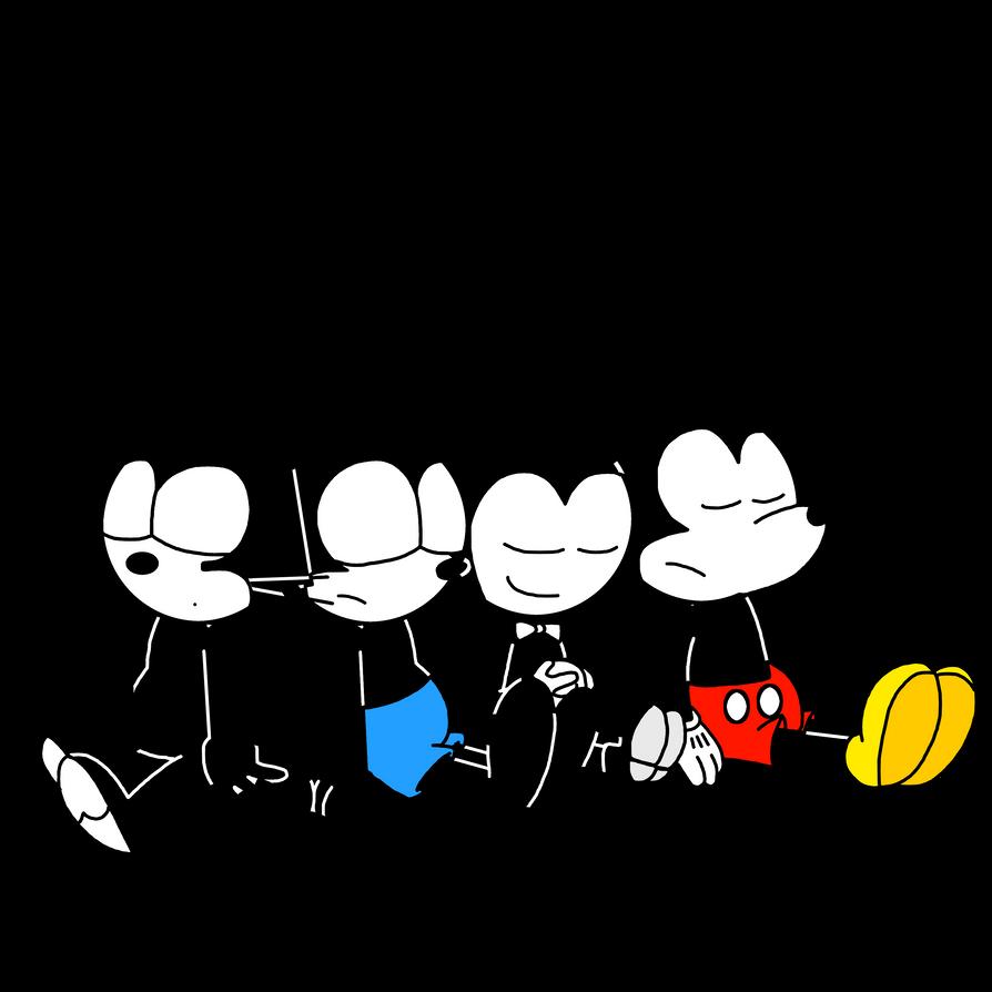Felix, Oswald, Bendy and Mickey sleeping