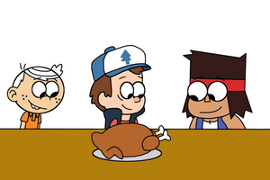 Lincoln, Dipper and K.O. with roasted turkey by Mega-Shonen-One-64