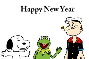 Happy New Year with Snoopy, Kermit n Popeye by Mega-Shonen-One-64