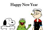 Happy New Year with Snoopy, Kermit n Popeye