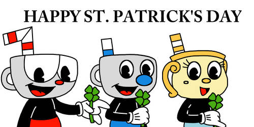 Happy St Patrick's Day with Cuphead Mugman Chalice by Mega-Shonen-One-64