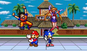 Goku, Sailor Moon, Mario and Sonic