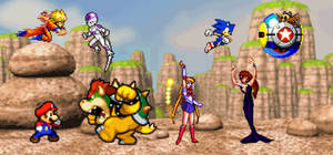 Goku Sailor Moon Mario and Sonic vs their enemies