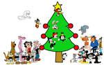 Characters looking at Christmas Tree