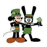Happy St. Patrick's Day from Mickey and Oswald by Mega-Shonen-One-64