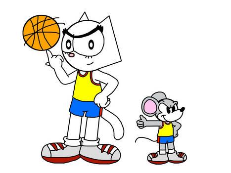 Kitty and Skiddoo as Basketball players