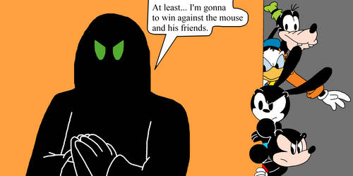 Mickey Oswald Donald  Goofy spying on Phantom Blot