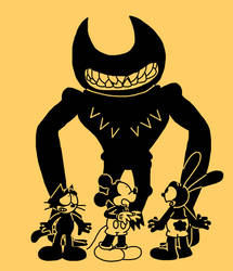 Beast Bendy with Mickey, Oswald and Felix by Mega-Shonen-One-64