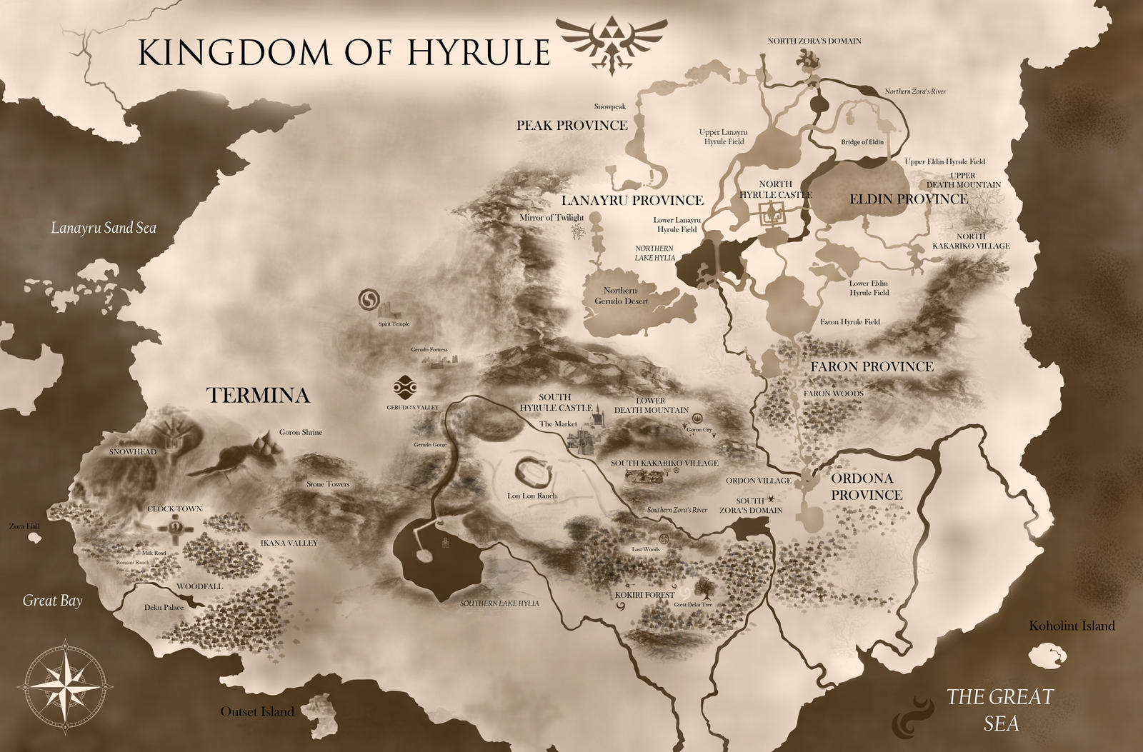 Kingdom of Hyrule  Giant Zelda Universe Map by PixelCollie on