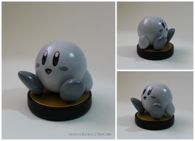 Retro Black and White Custom Kirby Amiibo by PixelCollie