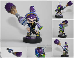 Custom Purple Inkling Boy Amiibo with Inkbrush by PixelCollie