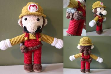 Builder Mario Amigurumi Doll by PixelCollie