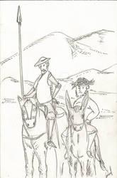 D Quijote de la mancha y el gordo sancho panza