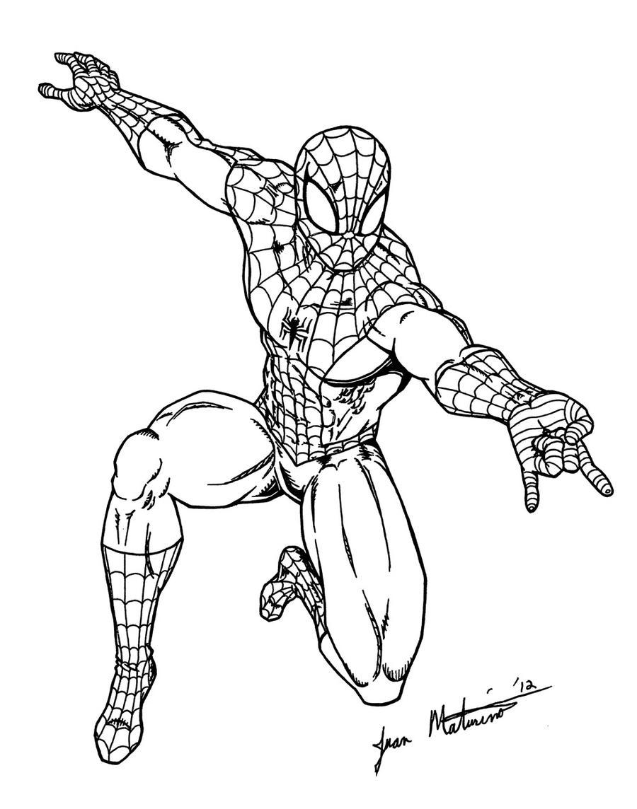 Black spiderman cartoon drawings for Immagini super eroi da colorare
