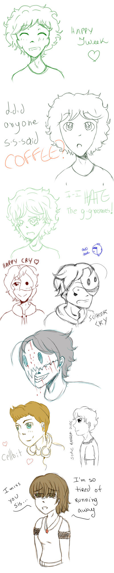 OC, Tweek, Cry and Cellbit - Sketchdump by seoungfannie
