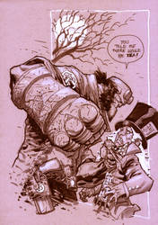hellboy vs. mad hatter. by manapul