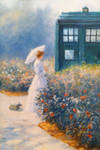 Altered Art: Woman and TARDIS in garden