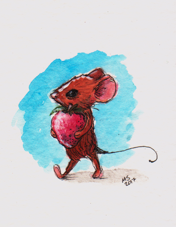 Mouse with strawberry by csgirl