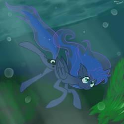 Princess Luna diving by katkakakao