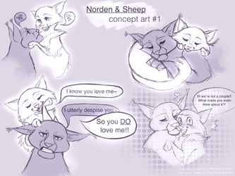 Norden and Sheep - concept sketches by NeriTheKitten
