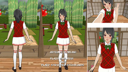 Plaid sweate+face+plaid stripped stockings by Artemis-Rowling