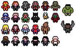 Pixel marvel cinematic universe heroes sprites