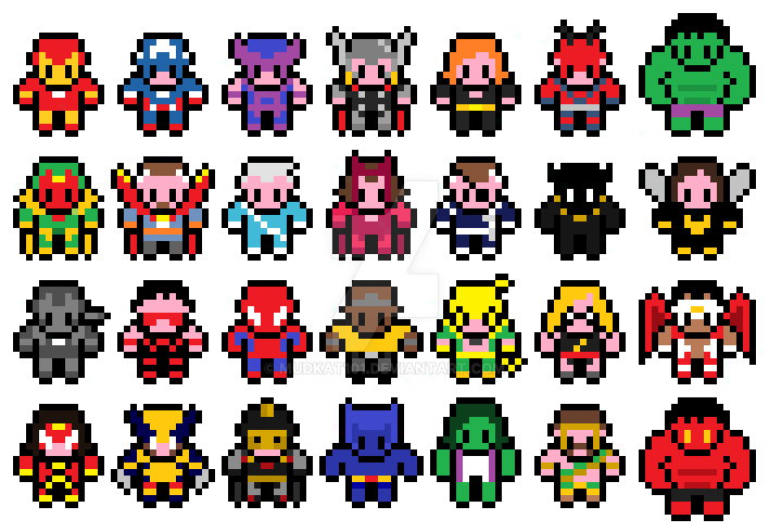 Pixel Marvel Comic Classic Avengers Sprites By Mudkat101