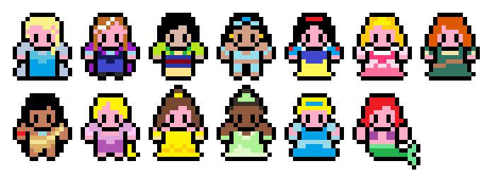 Pixel Disney Princess Sprites By Mudkat101 On Deviantart