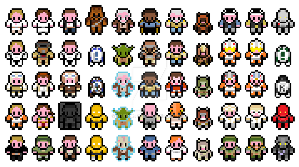 Pixel Star Wars Original Trilogy Sprites Part 1 By Mudkat101 On