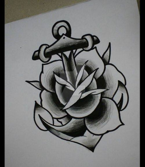 Anchor And Rose Oldschool Inspiration Tattoo By Vinivolpini On