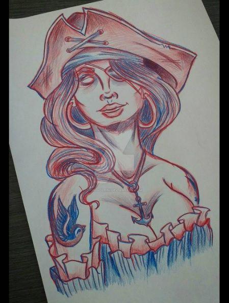35e7f946f9e05 Pirate girl - neotraditional tattoo draw by vinivolpini on DeviantArt