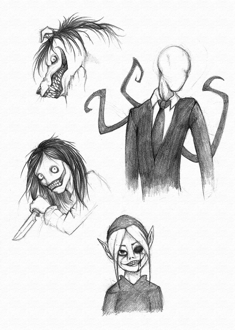 Creepypasta sketches by BlackDragon-kin