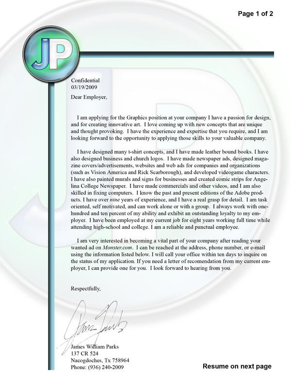 Cover Letter by Numbmonkey