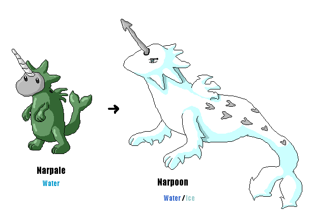 097, 098, 099: Narwhal Fakemon by LeafyHeart on DeviantArt