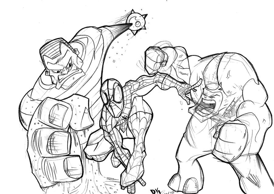 Spidey and foes..sketch2 by Dekka-93