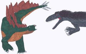 T. rex vs Stegosaurus by RickRaptor105