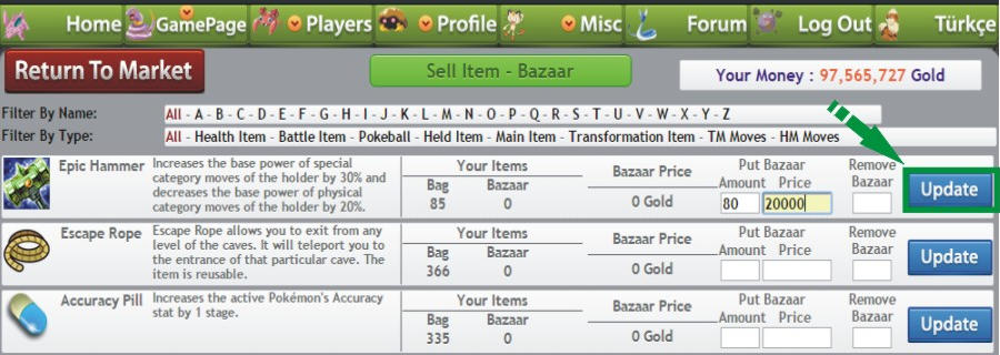 Pokemon pets sell  item at bazaar items 6