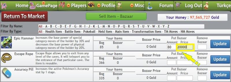 Pokemon pets sell  item at bazaar items 5