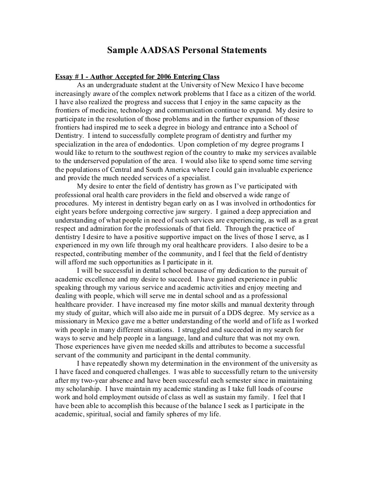 AADSAS Personal Statement Sample By Personalstatement On